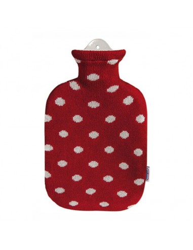 Bouillote avec housse tricot rouge à pois