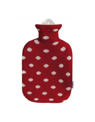 Wärmflasche Strickbezug 2l rot mit Punkten