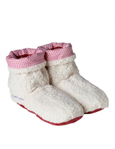 Pantofole riscaldabili boots Sherpa beige/rosso