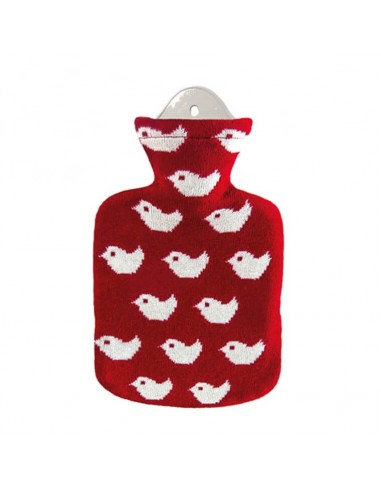 SÄNGER Hot water bottle 0.8l Knitting cover red Baby Birds