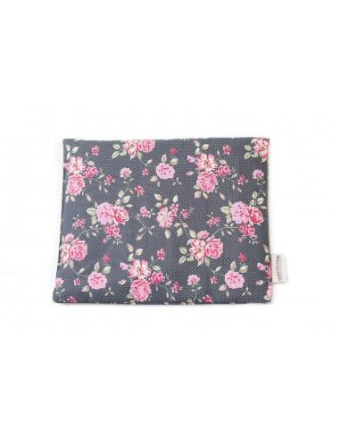 Rapssamenkissen Blumen schwarz/pink